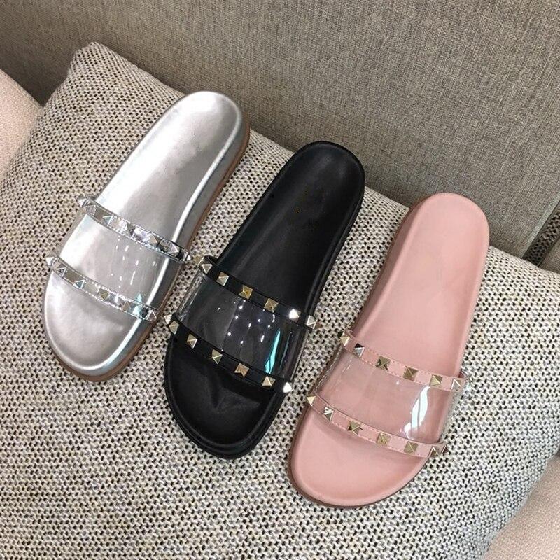 Plage Pour Gladiateur Cloutés Chaussures Rivets pink Femmes Pantoufles Confortable Été Pvc Diapositives Appartements Silver Bascules Clair black Plein 2018 Sandales Dames En Air wqUF8nWd