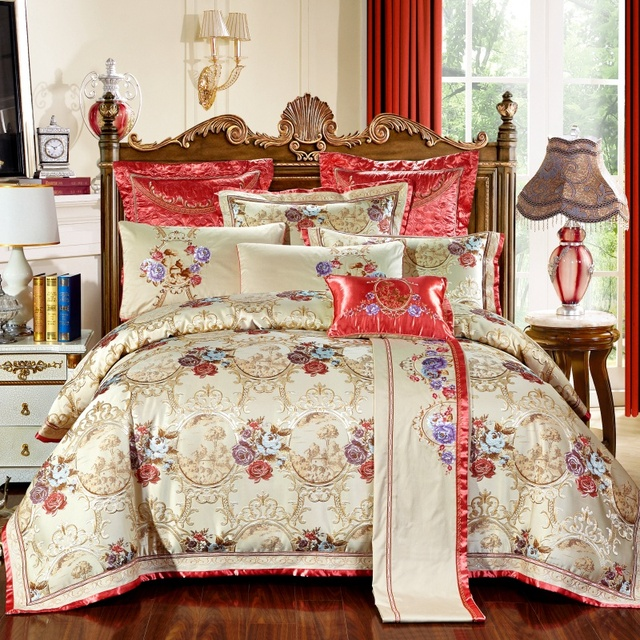 Luxury Embroidery Satin Silk Jacquard Bedding Sets 100% cotton bedsheet/bedspread Queen King size 4pcs/6pcs Christmas gift