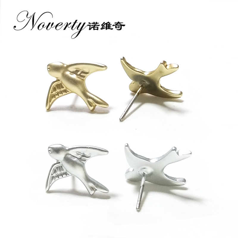 New Fashion 1 Pair Cute Simple 15MM Gold Silver Zinc Alloy Swallow Stud Earrings for Women Party Gifts Jewelry PJ358