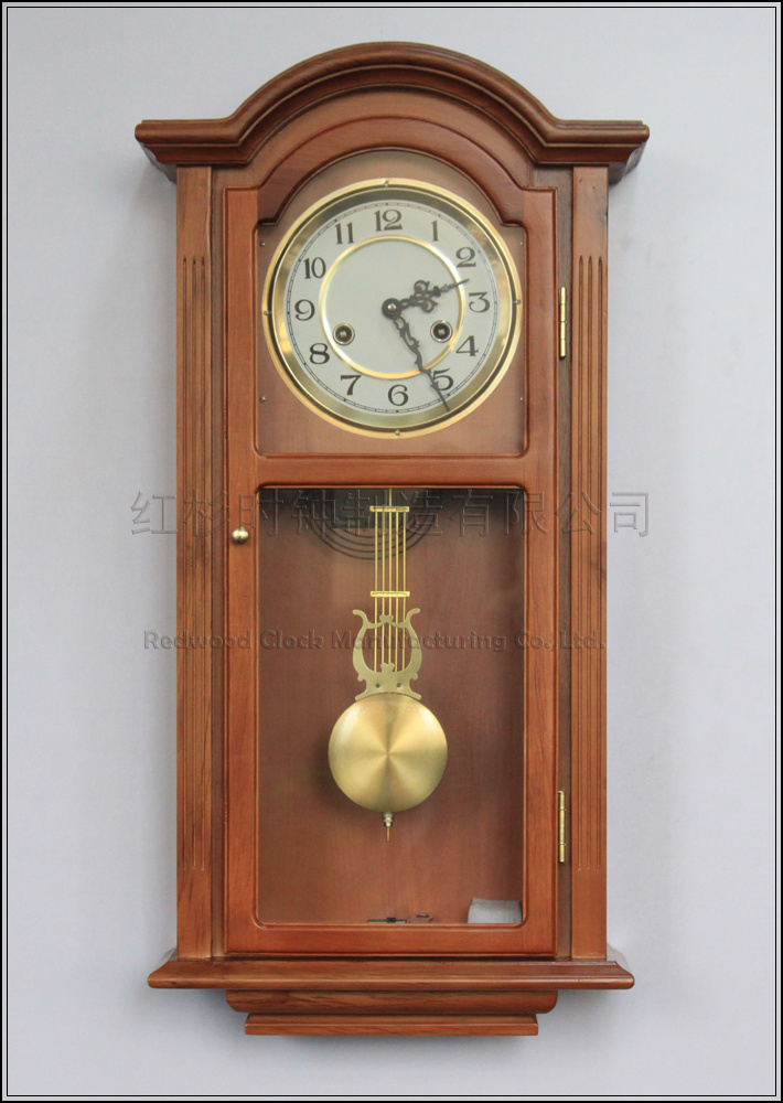 European solid wood living room wall clock mechanical clock chime