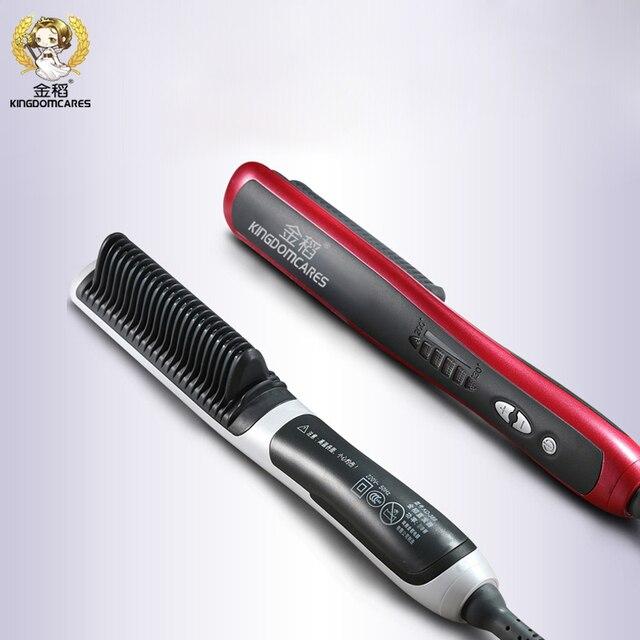 Eléctrico enderezadora de cerámica del pelo del cepillo de pelo que labra la herramienta alisado del cabello peine de masajeador planchas calefacción rápida cepillos