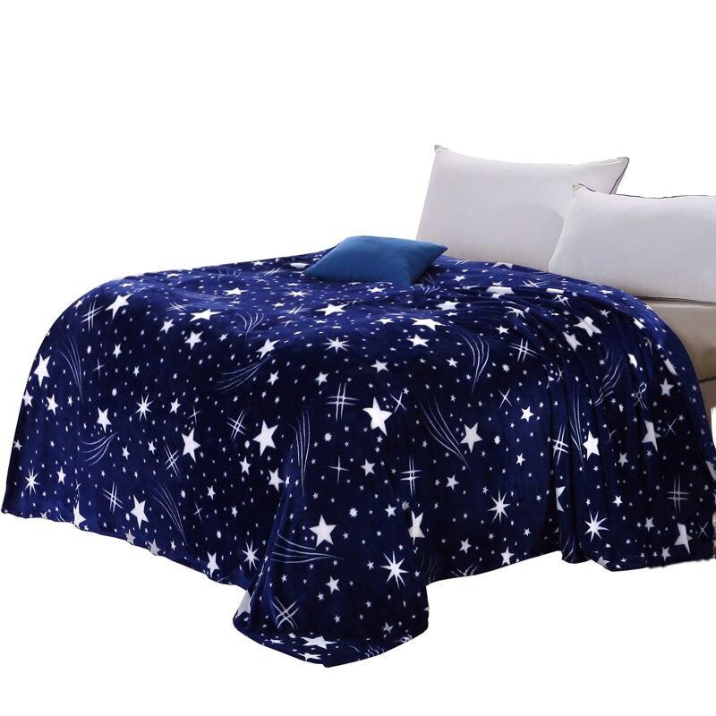 Yıldızlı gökyüzü yıldız baskı derin mavi yaz atmak battaniye pazen fiber 120x200/150x200/180x200/200x230 cm klima ev kullanımı