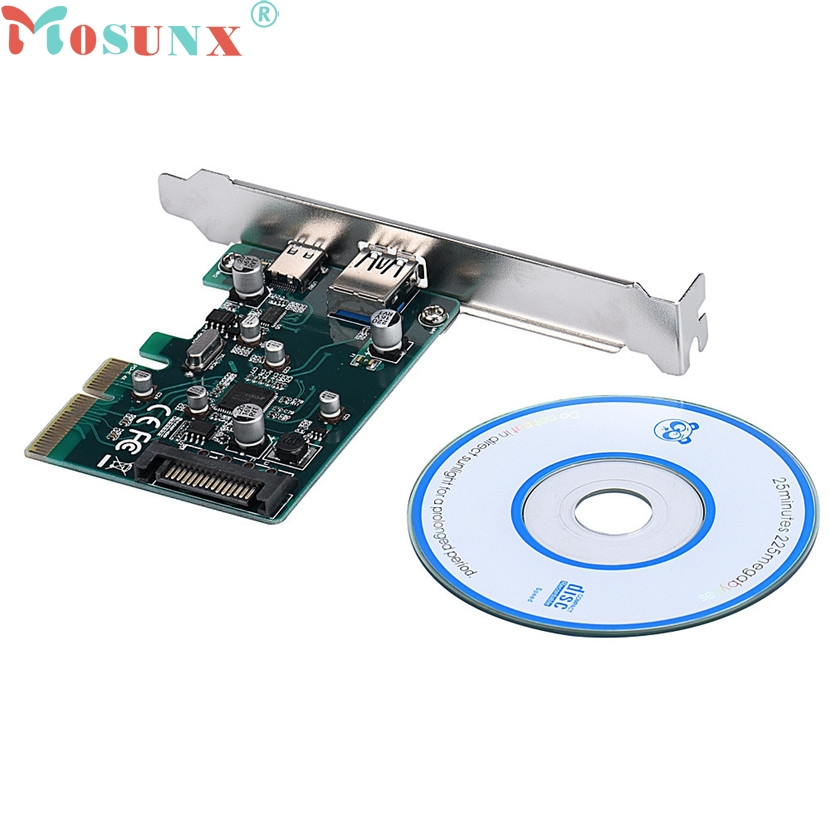 mosunx Mecall Mini PCI-E PCI Express To USB 3.0 Type A + USB 3.1 Type C Adapter Card pci e to