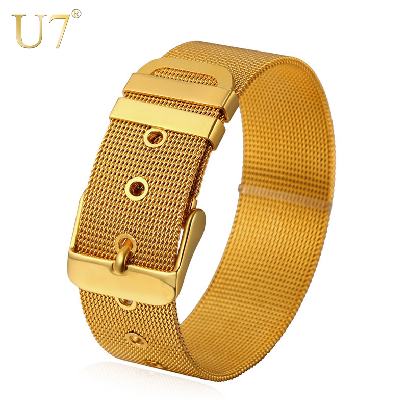 U7 Stainless Steel Bracelet Men Jewelry Wholesale Gold Color Mens Bracelets Fashion Watch Band Strap Bracelets Bangles H648 opk punk cross bracelet for men length 16 5 21 cm mesh strap band stainless steel black gold color male wrap bracelets gh878