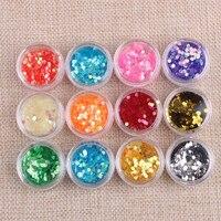 12 Box Lot Shinning Nail Glitter Colorful Hexagon Star Gorgeous Nail Chrome Pigment Manicure Glitters Dust
