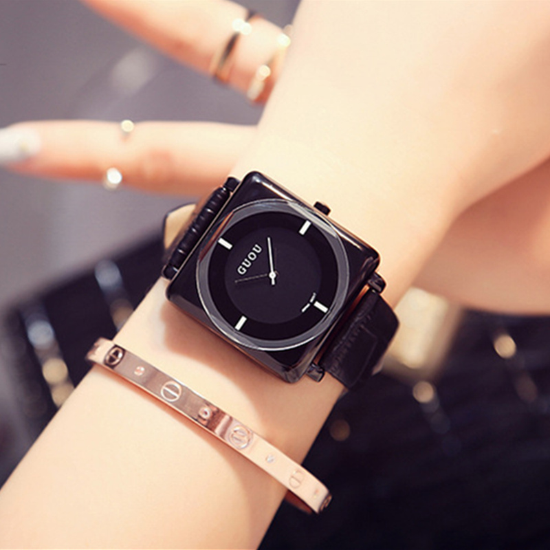 GUOU Brand Watch Fashion Square Women s Watches Women Watches Leather Ladies Watch Clock saat montre