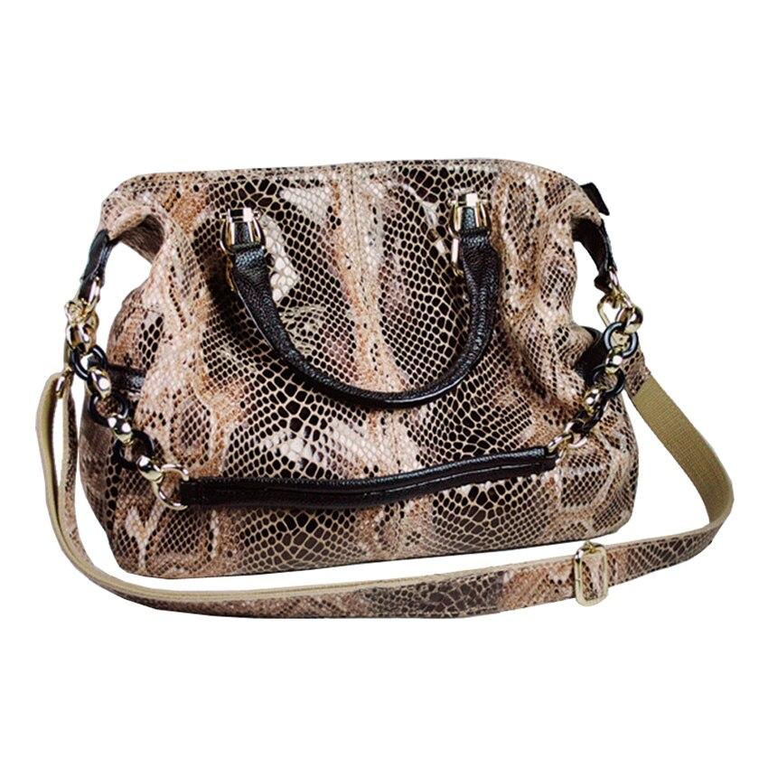 Women Genuine Leather Snake Pattern Handbag High-End Hand Bag Shoulder Cross Bod