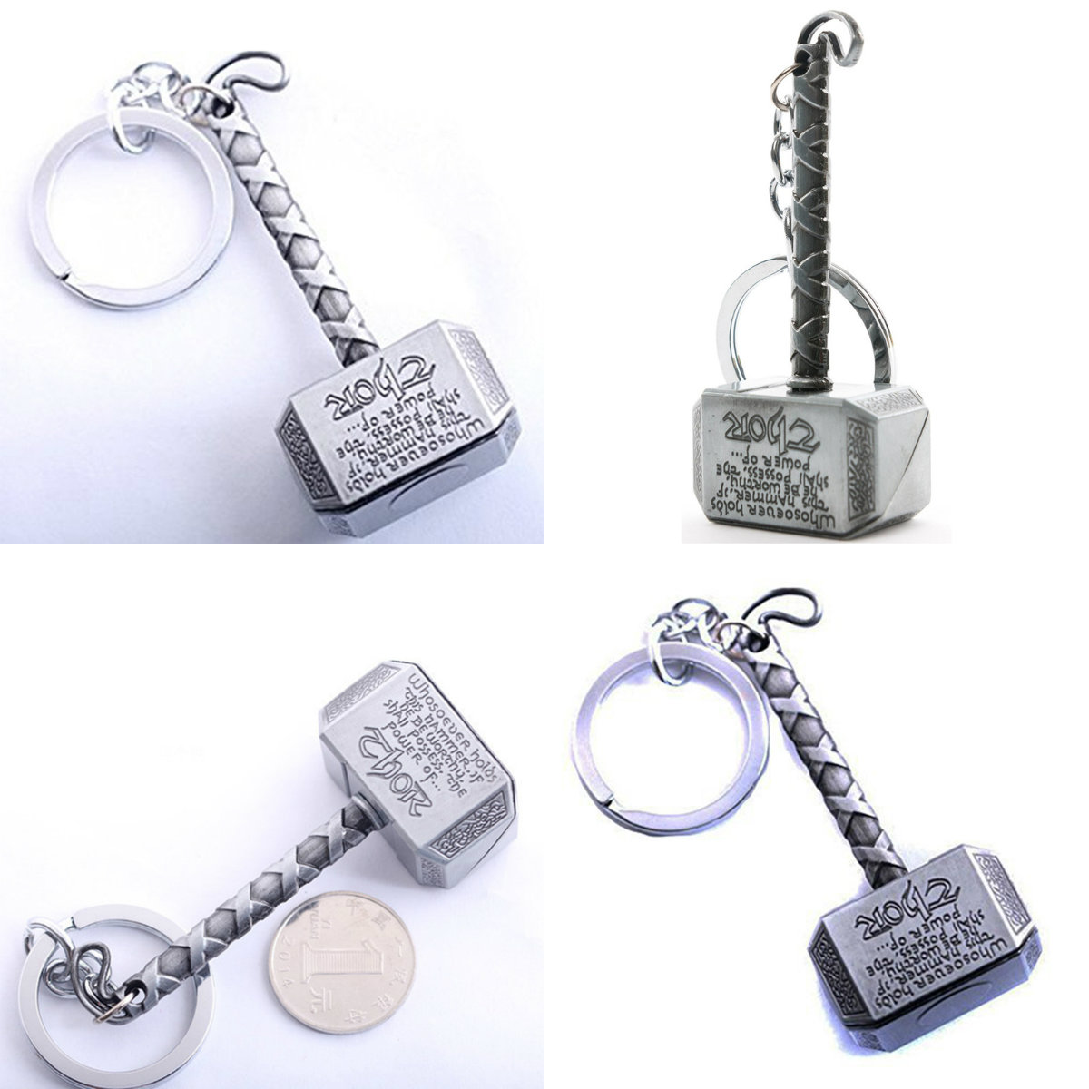 1PCS Men Jewelry Fans Accessory Marvel Avengers Thor's Hammer Mjolnir Keychain New Pewter Keyring Toy Thor Chain Ring Key