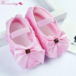 Для маленьких девочек Обувь для малышей предварительно ходок Обувь розовыми цветами лук принцессы для новорожденных мягкая подошва Обувь