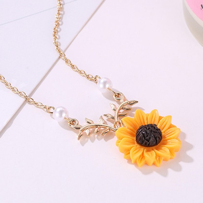 4bafbdcf97c32 US $0.53 11% OFF|New Pendant Clavicle Necklace Cute Sunflower Leaf Branch  Gifts Women Jewelry Birthday Gift Boho Bohemian Accessories Drop Ship-in ...