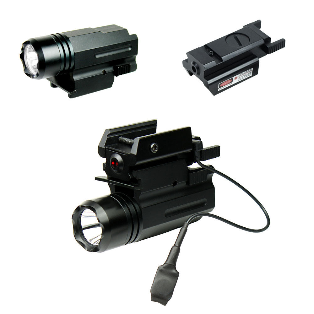 Small Compact Tactical Pistol LED Flashlight W Low Profile Red Laser Sight Tail Switch Fr Can Be Mounted On A Rifle