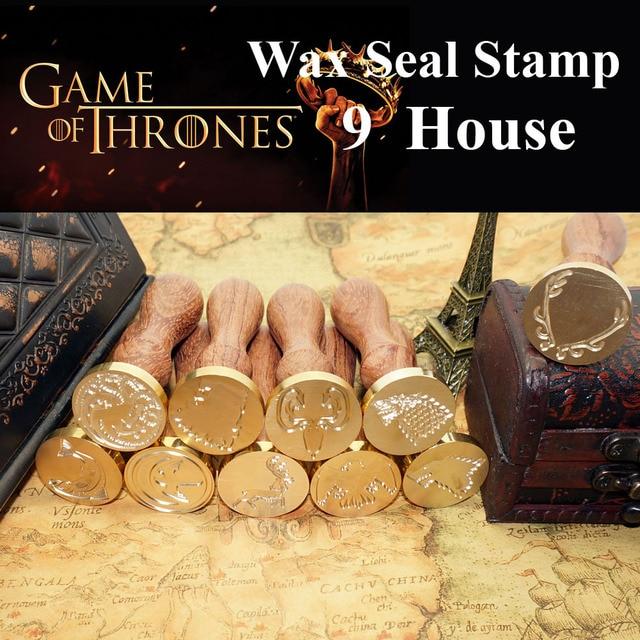Juego de tronos cera sellos sello 9 casa abrigo Stark Targaryen Lannister Baratheon Arryn Tully Greyjoy tyrel sello + cera de sellado