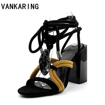 VANKARING new fashion suede leather summer shoes woman platform sandals high heel cross-tied open toe ladies dress dancing shoes