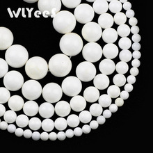WLYeeS 3A Giant clam Stone Beads Round Natural 4-12mm Ball Loose for Making Jewelry Necklaces DIY Handmade 15