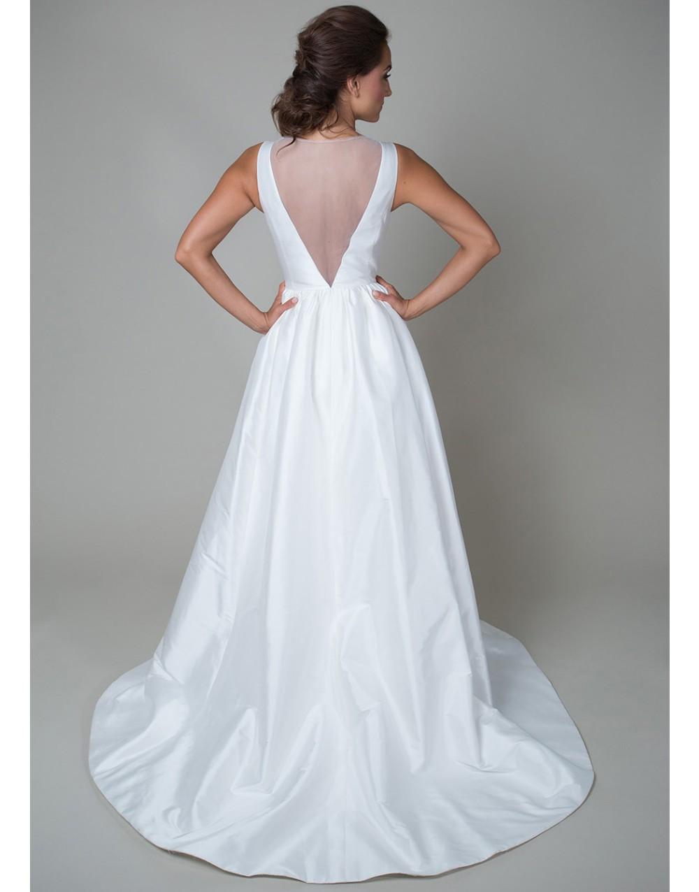 Vintage long white summer boho beach wedding dress with pockets 2015 v neck see through bridal gowns vestidos de noiva UD-442 2