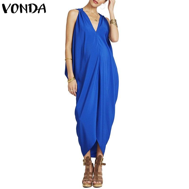 New Summer Dress 2018 Women Sexy Long Maxi Party Dresses V Neck Sleeveless Casual Loose Irregular Hem Vestiodos Plus Size