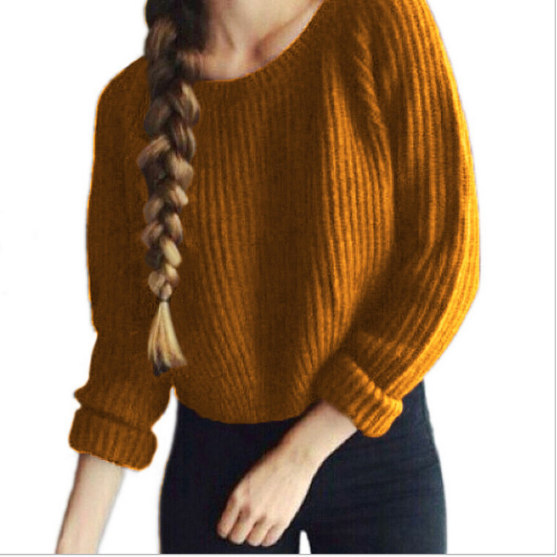 Autumn Winter Sweaters For Women Casual Solid Sweaters And Pullovers Knitting Long Sleeve Tops Pulovers Mulheres