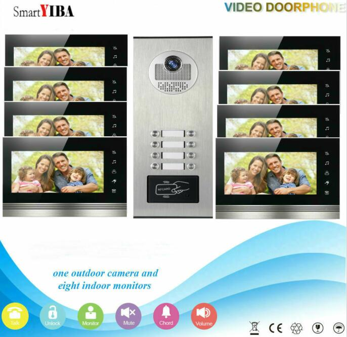 SmartYIBA 7inch 2 To 12 Units Building Home Security Intercom System Apartment Household LCD Visual Doorphone+RFID Camera