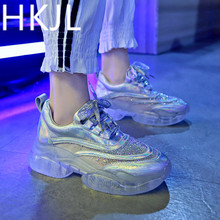 HKJL Net shoe woman 2019 transparent new summer thick bottom water drill crystal jelly belt breathable A562