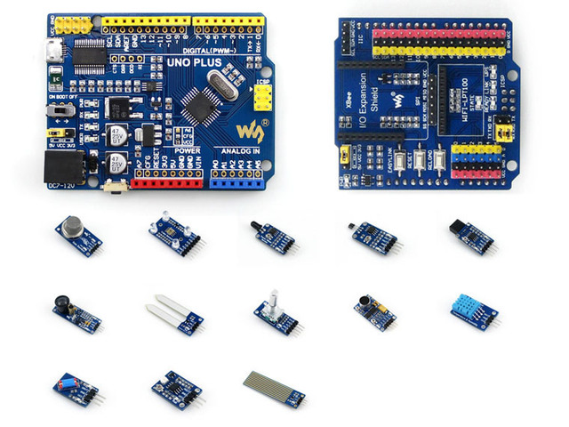 AVR Board UNO PLUS Onboard MCU ATMEGA328P-AU Compatible with UNO R3 Board Kit + IO Expansion Shield +Sensor Modules