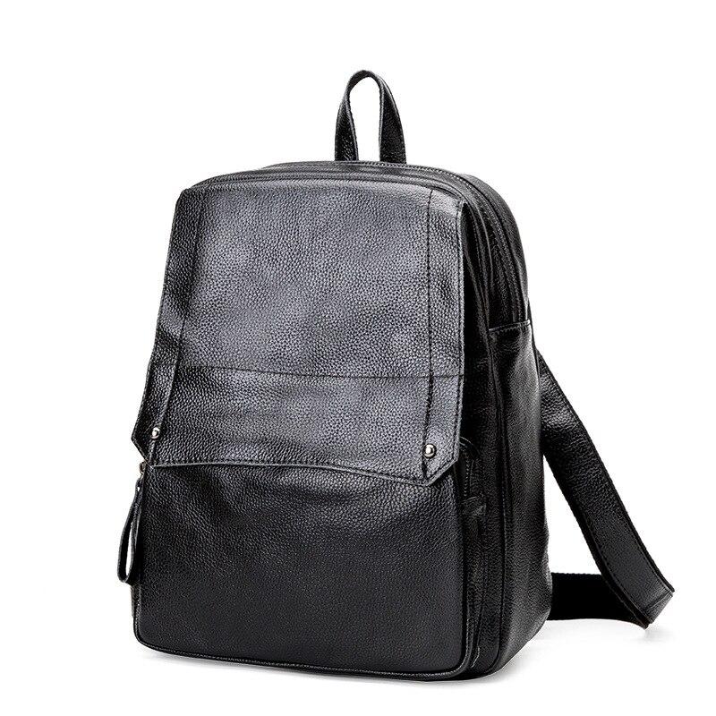 2018 Genuine Leather Backpack Women Bag Oil Wax Cow Leather Mochila Vintage Backpacks Female Back Pack Casual School Bags C448