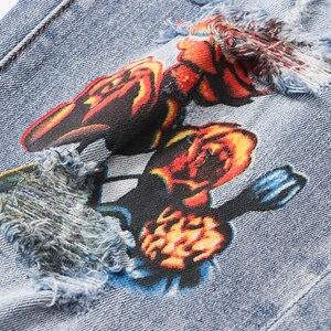 Image 4 - بنطلون جينز للرجال مطبوع عليه زهرة الملاك من Sokotoo بنطال جينز من قماش الدنيم المطاطي بقصة ضيقة