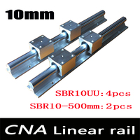 2pcs SBR10 L 500mm Linear Rail Support With 4pcs SBR10UU Linear Guide Auminum Bearing Sliding Block