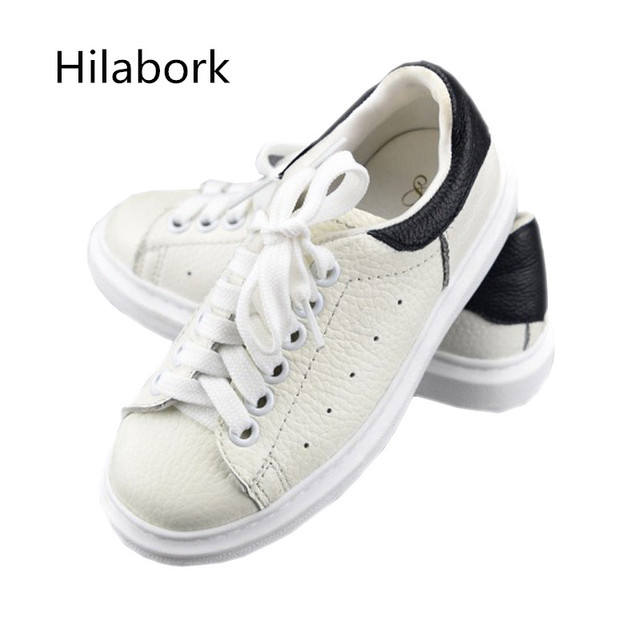 2017 Spring and Autumn new leather shoes, children's shoes, non-slip leather, low-help children's hollow  white running shoes