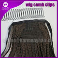 FREE Shipping  (100 Pieces, 55 teeth/piece) Black wire spring wig comb clips for lace wigs and pony tails/hair pieces wig combs