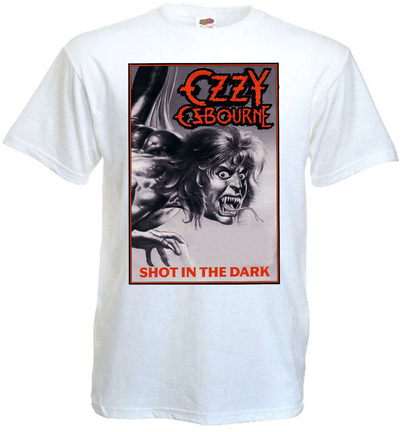 Ozzy Osbourne Shot In The Dark T-shirt white poster all sizes S...5XL T Shirt O-Neck Fashion Casual High Quality Print T Shirt