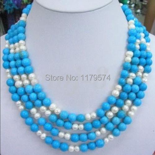 Hermoso vestido largo Encantador Caliente moda mujer jewerly nuevo envío libre de la turquesa y Collar de perlas blancas Envío gratis