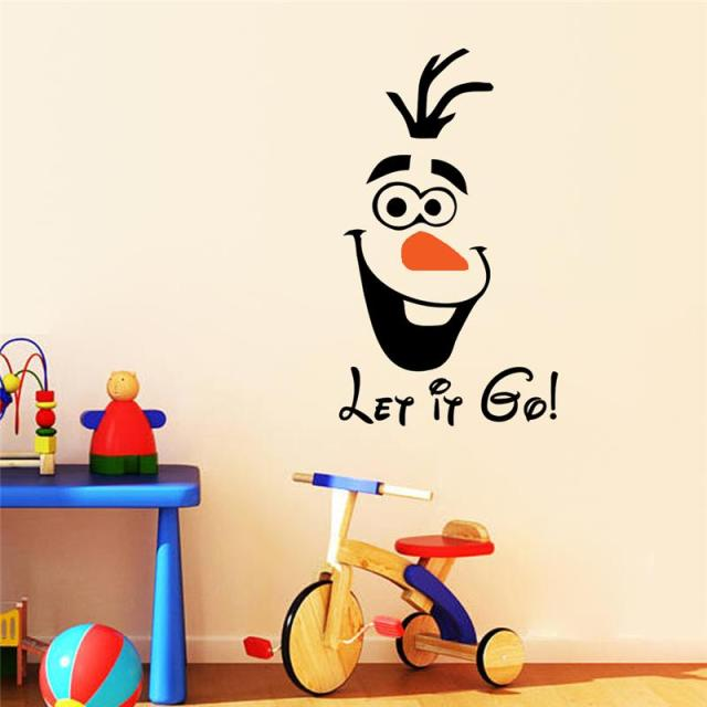 Brand 2017 let it go wall stickers quotes home decor 3d olaf diy cartoon kid playroom