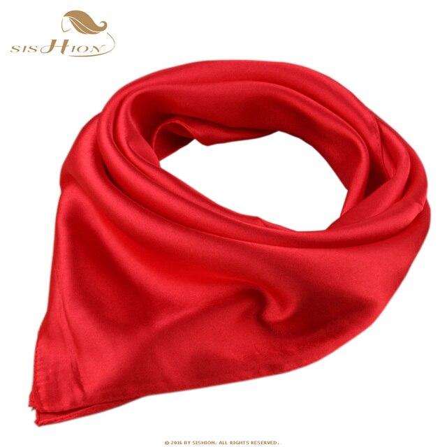 46a913201e9e 2017 Silk Fashion Scarf Square Foulard Women Satin Soft echarpes foulards  femme Red Work Office Scarves Retro Vintage SD0005