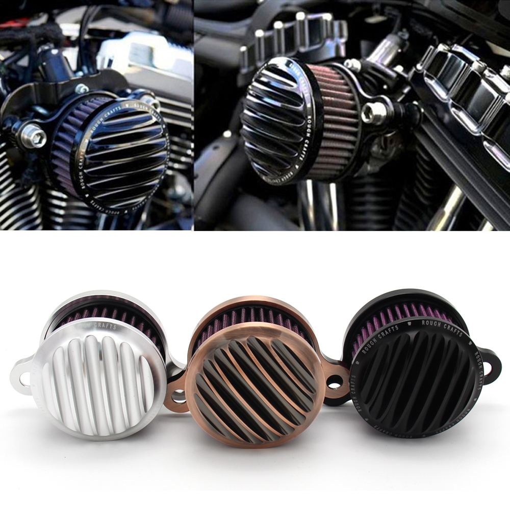 New Rough Crafts Air Cleaner Intake Filter Syetem For 2004-2016 Harley Sportster XL 883 1200 Universal Auto Air Cleaner Filter