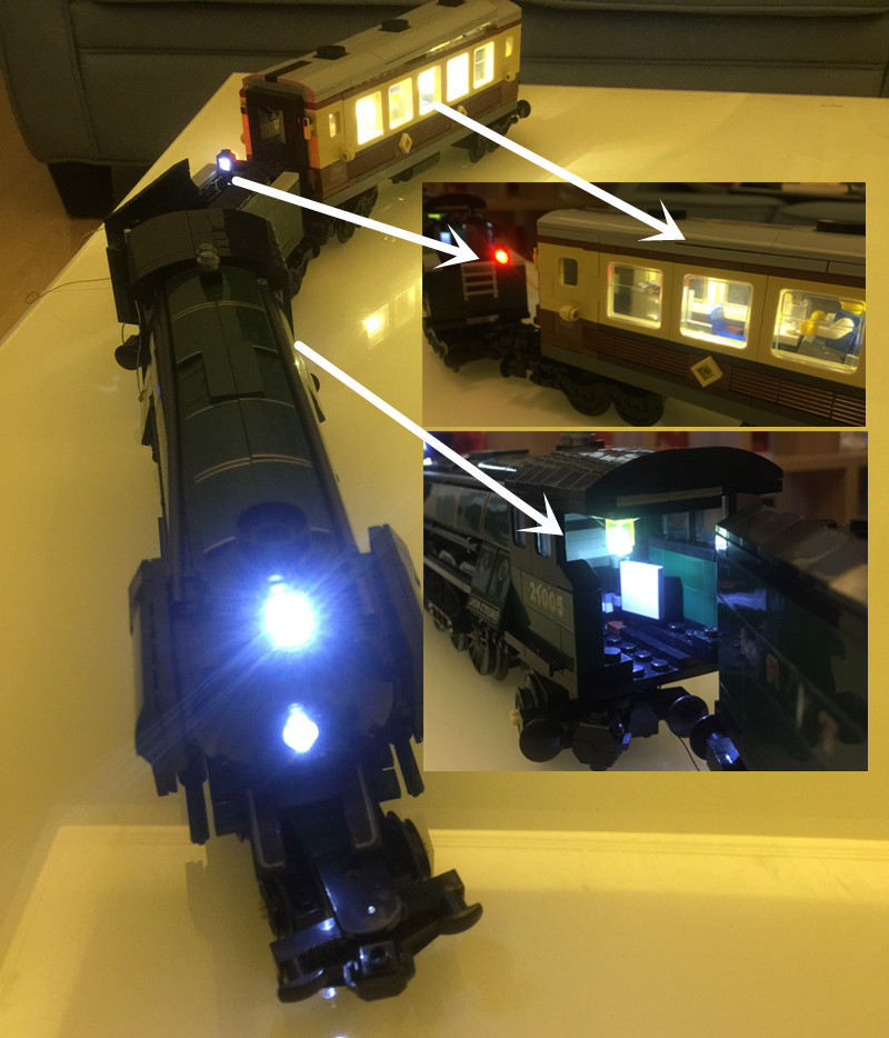 LED light up kit (only light included) for lego 10194 and 21005 Technic Series Emerald Night Train ( blocks set not included)-in Blocks from Toys u0026 Hobbies ... & LED light up kit (only light included) for lego 10194 and 21005 ...