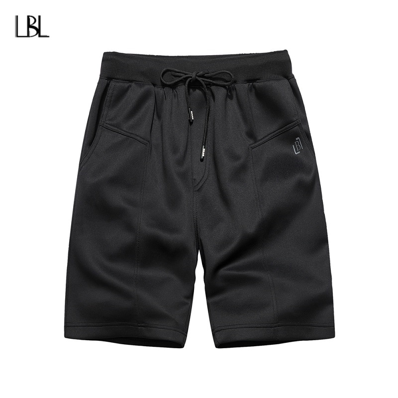 New Summer Mens Shorts Casual Black Solid Color Sweatpants Short Pants Sportswear Elastic Slim Fit Cotton Shorts Men Clothes