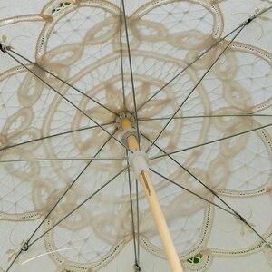 Image 3 - 2020 קיץ בציר תחרה כלה מטריות 68cm * 52cm לבן נשים שמש מטריית חתונה מטריית עבור הכלה שמש הגנת מטרייה