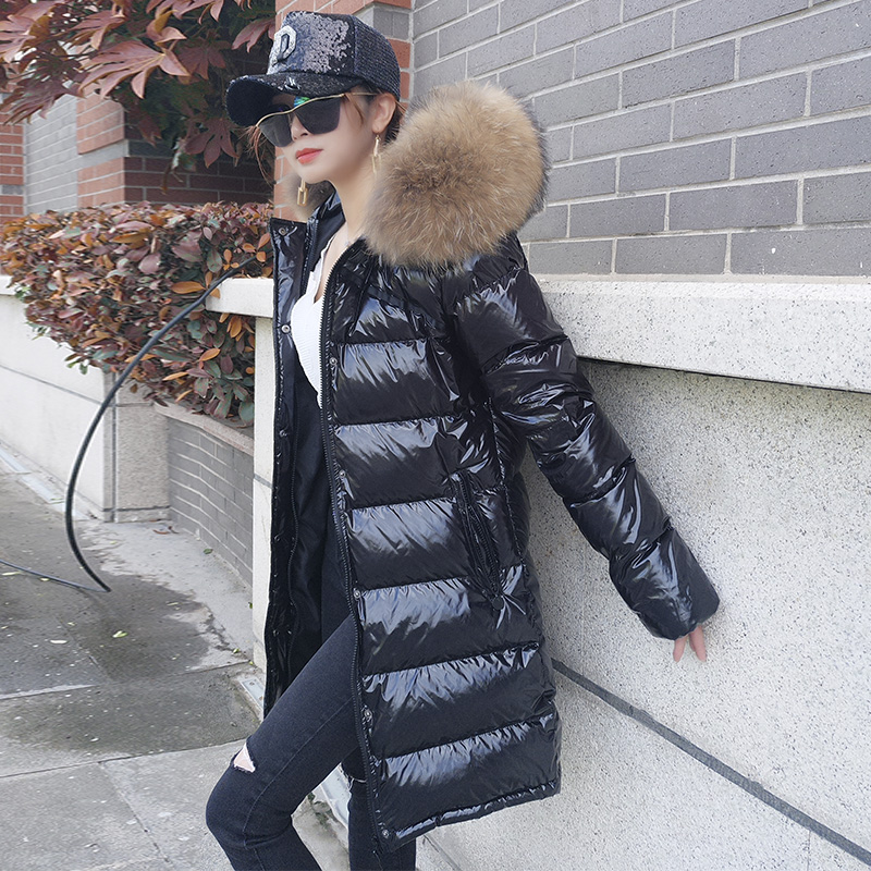 New Winter women's White duck down jacket loose thick super large real raccoon fur collar coat Black hooded long   Parka