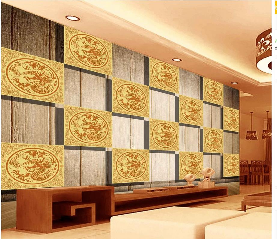 Adaptable 3d Wallpaper Photo Wallpaper High Quality 3d Stereoscopic Chinese Wooden Board 3d Lattice Tv Background Wall Mural Wall Paper Extremely Efficient In Preserving Heat