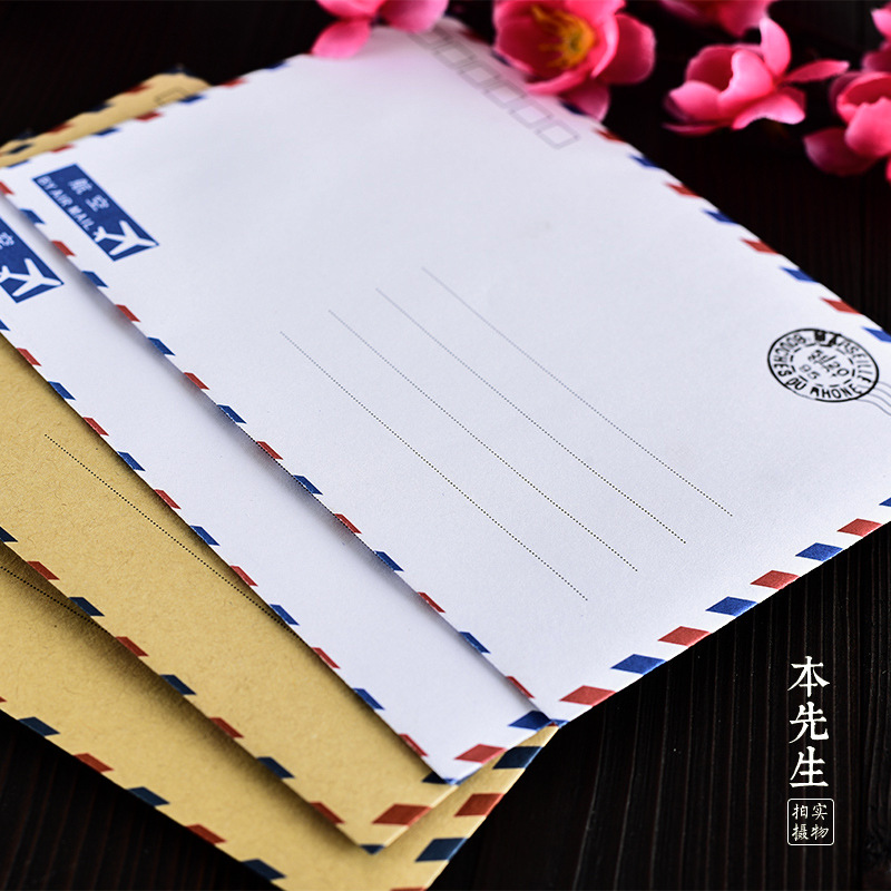 (14 Teile/los) Große Vintage Umschlag Postkarte Brief Schreibwaren Papier Luftpost Vintage Bürobedarf Kraft Umschlag Reines Und Mildes Aroma