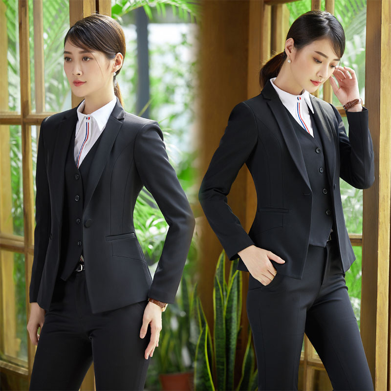 Winter work wear ladys suits slim fashion elegant formal blue black long sleeve office womens OL suit jacket +pants