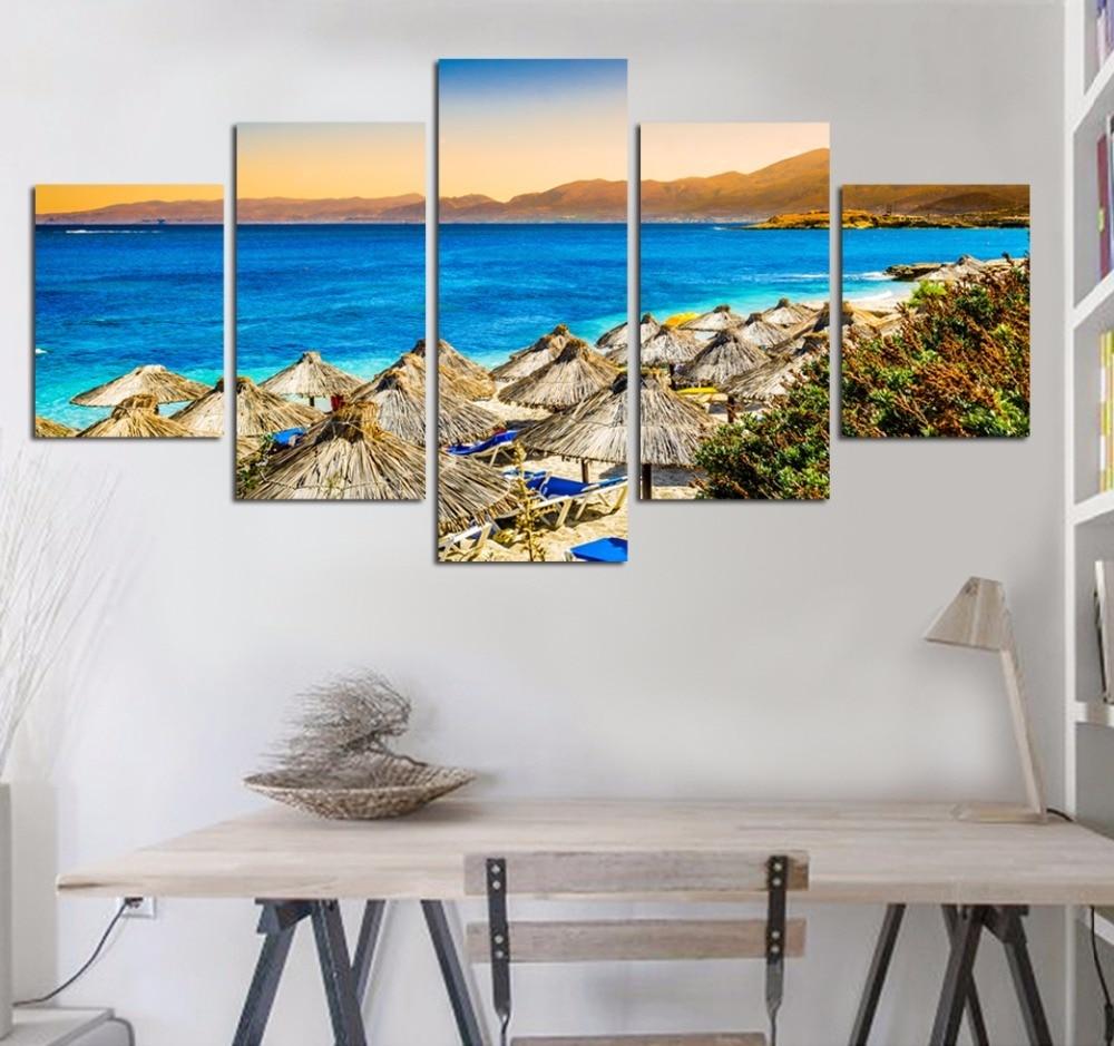 5 panel moderno mar ola pintura cuadros arte de la pared Ocean Sunset Pintura sobre tela impresiones unframed 1
