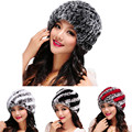 Fashion Womens Rex Rabbit Fur Hats with Stripe Design Cute Ladies Winter Warm Rex Rabbit Fur Caps