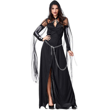 Deluxe Women Black Magic Witch Costume Halloween Sexy Adult Party Cosplay Clothing
