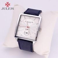 Thick Leather Men's Watch Japan Quartz Hours Retro Fashion Dress Clock Bracelet Boyfriend Birthday Gift Julius 023