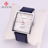 Thick Leather Men's Watch Japan Quartz Hours Retro Fashion Dress Clock Bracelet Boyfriend Birthday Gift Julius 023