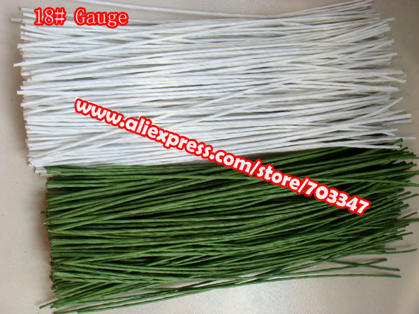 """Big Order Big Discount!! 600pcs X 18# Gauge Floral Stem Wire 11.4"""" In Green And White *Free Shipping*"""