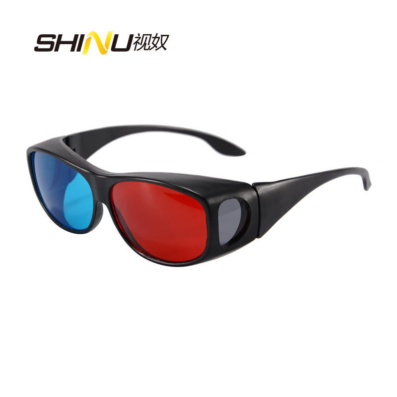 2016 New Universal 3D Plastic <font><b>Glasses</b></font> <font><b>Black</b></font> <font><b>Frame</b></font> <font><b>Red</b></font> <font><b>Blue</b></font> 3D Visoin <font><b>Glass</b></font> <font><b>For</b></font> <font><b>Dimensional</b></font> Anaglyph Movie Game DVD Video TV D007