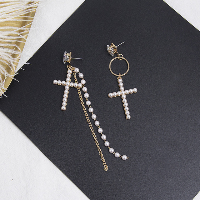 Korean Square Rhinestone Asymmetry Full Pearl Cross Long Tassel Chain Drop Earrings Fashion Round Circle Women.jpg 640x640 - Korean Square Rhinestone Asymmetry Full Pearl Cross Long Tassel Chain Drop Earrings Fashion Round Circle Women Jewelry 5B1037