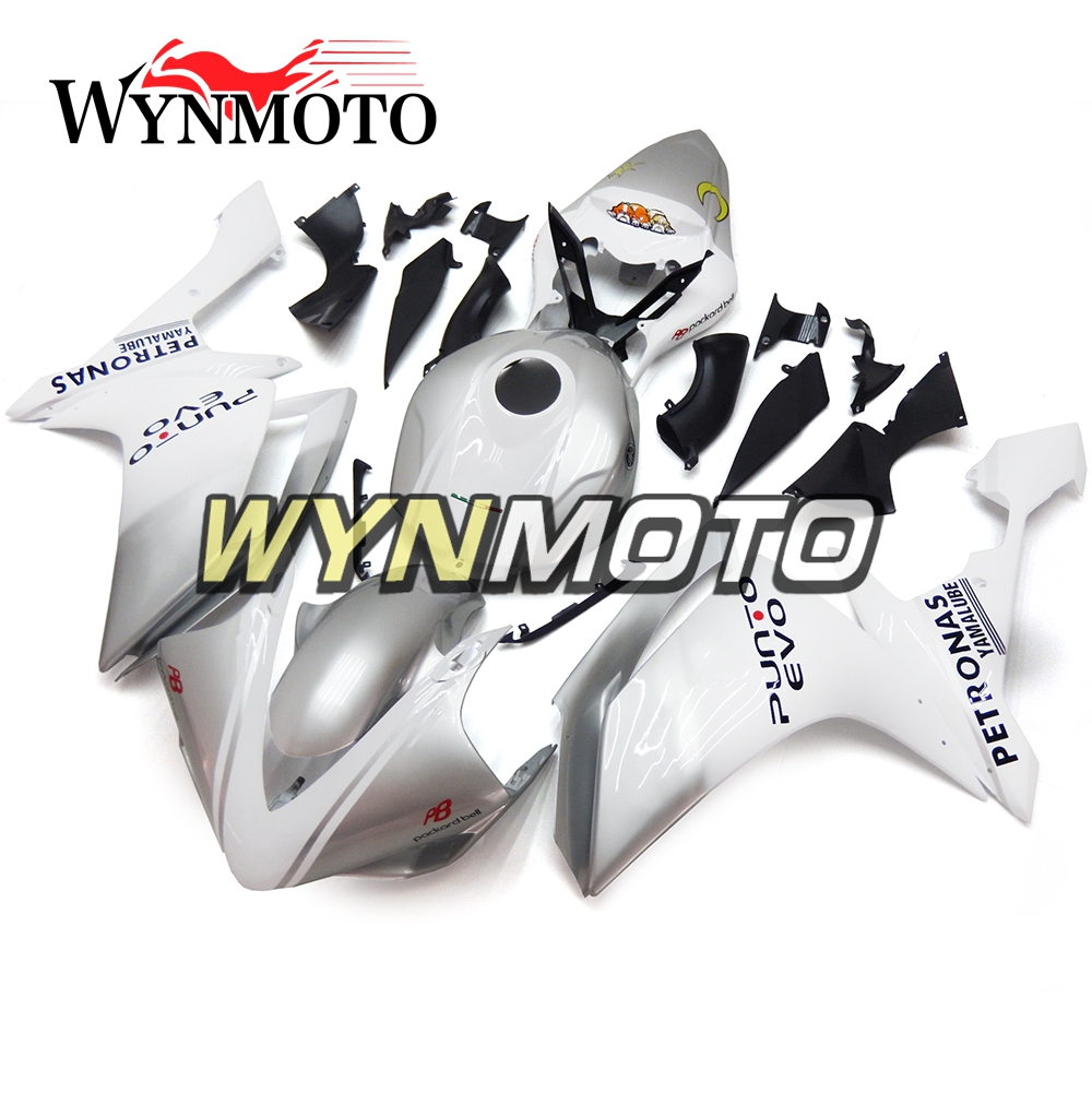 Silver White ABS Injection Plastics Fairings For Yamaha YZF1000 R1 Year 2007 2008 07 08 Motorcycle Racing Fairing Kit Cowlings